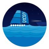 Espera de la balsa para el rescate en el mar Imagen de archivo libre de regalías