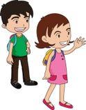Espera do menino e da menina ilustração royalty free