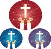 Esperança das mãos para a cruz Imagens de Stock