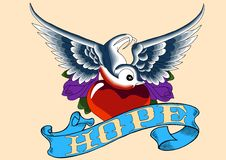 Esperança do pisco de peito vermelho do tatuagem Fotografia de Stock Royalty Free