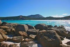 Esperance beach front. White sand and basalt rocks - typical Esperance beach Stock Images