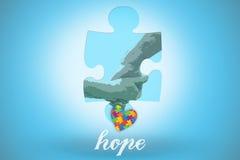 Esperanza contra fondo azul con la ilustración Fotos de archivo