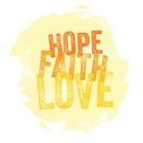 Esperanza cristiana del â del diseño del vintage, fe, amor ilustración del vector