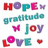 Esperanza Joy Gratitude Text del amor Imagen de archivo libre de regalías