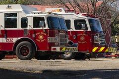 Esperanza Mills Fire Department Truck Aparatus, Carolina del Norte, los E.E.U.U. 7 de abril de 2018 fotografía de archivo