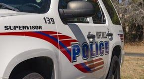 Esperanza Mills Police Vehicles Fleet, Carolina del Norte, los E.E.U.U. 7 de abril de 2018 fotografía de archivo libre de regalías