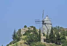 Esperar don Quixote - as asas do vento imagens de stock