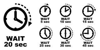 Espere, deténgase brevemente, período de pasar el icono del tiempo Wi simples del símbolo del reloj libre illustration