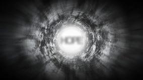 Espere na extremidade de um túnel escuro ilustração do vetor