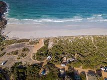 Aerial shot of camp ground on Cape Le Grand beach, Western Australia royalty free stock photos
