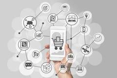 Esperienza mobile di acquisto con lo smartphone della tenuta della mano da collegarsi ai negozi online ai beni di consumo dell'ac Immagine Stock Libera da Diritti