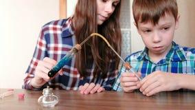 Esperimenti su chimica a casa Il ragazzo e la sua mamma riscaldano la provetta con liquido blu sulla lampada bruciante dell'alcoo stock footage
