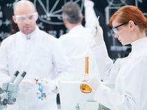 Esperimento del laboratorio di chimica Fotografie Stock Libere da Diritti