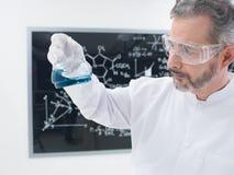 Esperimento del prodotto chimico del laboratorio dello scienziato Fotografie Stock