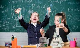 Esperimento della scuola Scuola per i bambini dotati Uniforme scolastico delle ragazze eccitato provando la loro ipotesi Progetto immagine stock