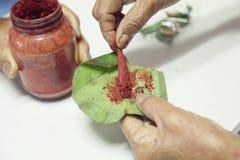 Esperto che prepara per la masticazione del betel Fotografia Stock