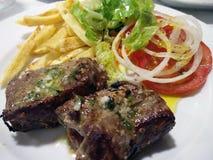 Espetada con carne di maiale in alloro Fotografie Stock Libere da Diritti