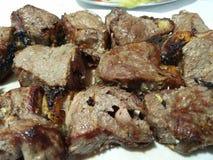 Espetada con carne di maiale in alloro Fotografie Stock