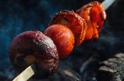 Espeto dos tomates, de pimentas vermelhas e de cebolas vermelhas em um espeto do metal imagens de stock