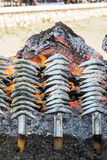 Espeto, Sardines grilled on the beach in Malaga Spain Royalty Free Stock Photo
