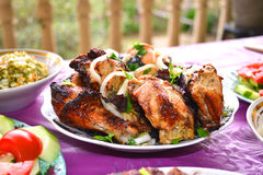 Espetos azerbaijanos da galinha Foto de Stock Royalty Free
