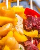 Espetos crus da galinha e da carne que descansam em uma bandeja Fotos de Stock Royalty Free