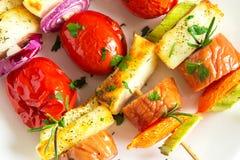 Espetos da salsicha e dos vegetais Imagem de Stock