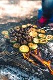 Espetos grelhados deliciosos do vegetariano em carv?es, em vegetais, em abobrinha e em cogumelos ardentes no molho de soja Cozime fotos de stock