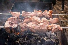 Espetos semiacabados da carne na grade no fumo Fotos de Stock