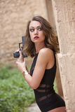Espião 'sexy' com injetor fotografia de stock