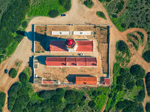 The Espichel Cape Lighthouse. Sesimbra, Portugal, aerial top-down view Royalty Free Stock Photo
