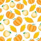 Espiga de milho dos desenhos animados e teste padrão sem emenda da abóbora da maçã Ilustration do vetor isolado no fundo branco Ilustração Stock
