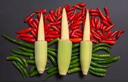 Espigas de milho cruas frescas do bebê em pimentas de pimentão vermelhas e verdes da não-haste fotos de stock royalty free