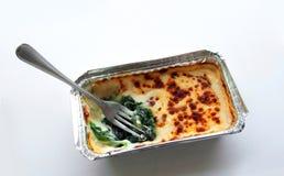 Espinaca cocida con queso en paquete del froid Fotografía de archivo