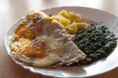 Espinaca con la tortilla y las patatas del huevo imagen de archivo libre de regalías