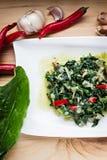 Espinaca con las verduras Imagen de archivo libre de regalías