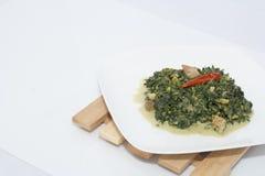 Espinaca con leche de coco Foto de archivo libre de regalías