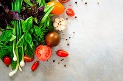 Espinaca fresca, cebolla verde, albahaca, hierbas, eneldo y tomates en el fondo concreto gris, foco selectivo Visión superior ent foto de archivo libre de regalías