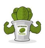 Espinaca fuerte y potente Brazos musculares de la espinaca de los bancos Hea libre illustration