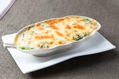 Espinafre cozido com queijo Imagens de Stock Royalty Free