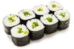 Espinafres Maki Sushi Imagens de Stock
