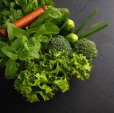 Espinafres, pepino, brócolis, alho, hortelã, salsa, alface, cebola em um fundo preto Imagem de Stock Royalty Free