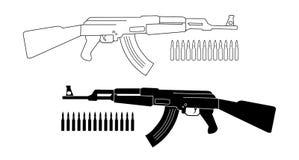 Espingarda de assalto com balas contorno Silhueta Fotografia de Stock Royalty Free
