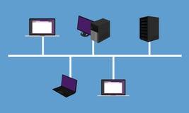 Espinha dorsal do hardware dos trabalhos em rede do projeto do LAN da topologia de rede do ônibus conectada Foto de Stock Royalty Free
