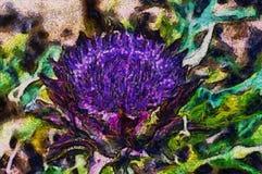 Espinho de florescência da pintura a óleo da cor Foto de Stock