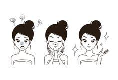 Espinillas de dibujo de la mujer en nariz stock de ilustración