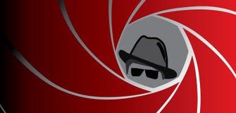 Espion, agent, bandit ou détective dans le chapeau de chapeau feutré Photographie stock