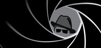 Espion, agent, bandit ou détective dans le chapeau de chapeau feutré Photos stock
