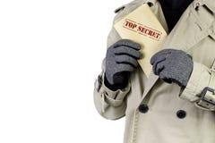 Espion avec les documents extrêmement secrets Image libre de droits