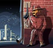 Espion dans le manteau de masquage de camouflage Photos libres de droits